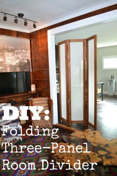 DIY Folding Three-Panel Room Divider Partition by Upcycled Ugly - Raum Teiler Room Divider Diy, Cheap Room Dividers, Room Divider Headboard, Metal Room Divider, Office Room Dividers, Small Room Divider, Room Divider Bookcase, Fabric Room Dividers, Bamboo Room Divider