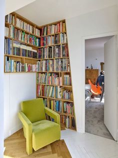 The owners of this apartment wanted to reorganise the interior and make it more … The owners of this apartment wanted to reorganise the interior and make it more … – Eine Plattform mit allen Designs Slanted Walls, Parisian Apartment, Wood Shelves, Shelving Units, Architect Design, Small Apartments, Interior Architecture, Bookcase, Layout