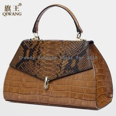 Elegant Gold Real Leather Crocodile Tote Clutch Bags Women - Online shopping in shop of: Satchel Handbags, Purses And Handbags, Leather Handbags, Leather Bags, Beautiful Handbags, Beautiful Bags, Fashion Handbags, Fashion Bags, Fashion Jewelry