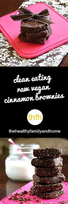Clean Eating Raw Vegan Cinnamon Brownies...made with clean ingredients and they're raw, vegan, gluten-free, grain-free, flourless, dairy-free, egg-free, paleo-friendly and contain no refined sugar | The Healthy Family and Home