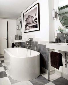 A #hollywoodregency style glam #bathroom in black, white & grey. Tasteful, elegant and #deco,
