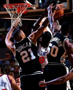 Tim Duncan and David Robinson blocking Latrell Spreewell. Need to play more of these games on NBA channel.