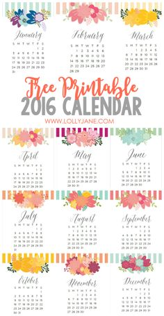 Adorable 2016 free printable calendars! Love these free printable 2016 calendars   lollyjane.com