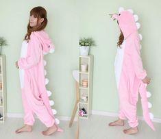 Kigurumi Pajamas Anime Cosplay Costume unisex Adult Onesie Dress Pink Dinosaur 1 $36.00