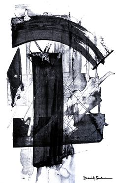 Extract 2 - Ink washes on mixed media applied with a wooden straight edge.