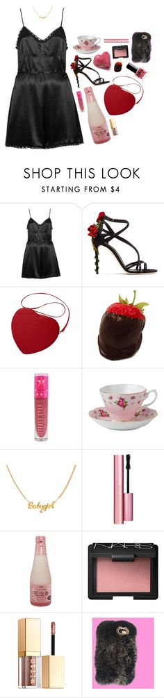 """valentines"" by amberundead ❤ liked on Polyvore featuring Topshop, Dolce&Gabbana, Jeffree Star, Royal Albert, Too Faced Cosmetics, NARS Cosmetics, Stila and ncLA"