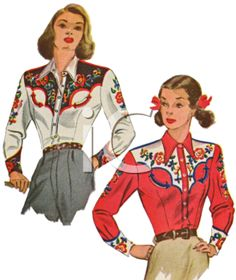 Clothing Or Vintage Shops Selling Clothes Designer Cowgirl Shirts, Cowgirl Outfits, Cowgirl Style, Western Outfits, Vintage Western Wear, Vintage Cowgirl, Vintage Outfits, Vintage Fashion, 1940's Fashion