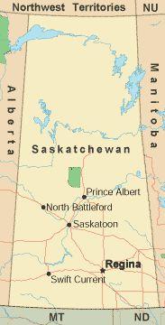 Saskatchewan Canada royalty free jpg map crossing Canada
