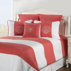 Coral designer beach themed comforters and bedding sets. Modern bedding sets made in USA. Coral striped comforter and shell pattern on pillows. Beach Bedding Sets, Twin Comforter Sets, Coastal Bedding, Luxury Bedding, Bedding Decor, Aqua Bedding, Striped Bedding