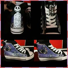 This item is unavailable Christmas Decoupage, Funky Shoes, Converse Style, Jack Skellington, Nightmare Before Christmas, Emo, Trainers, Goth, My Etsy Shop