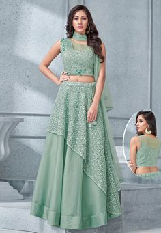 Mint green lehenga choli with dupatta. Fabric - Lehenga : Tissue and net ; Choli : Tissue and net ; Matching choli and dupatta comes with this. Lehenga Dupatta, Green Lehenga, Lehenga Skirt, Lehenga Choli Online, Indian Lehenga, Lehnga Dress, Cape Lehenga, Jacket Lehenga, Lehenga Blouse
