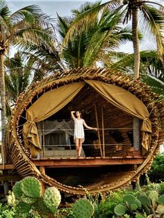 Breathtaking Beachfront Tree House Rental near Zihuatanejo, Mexico - Glamping Hub - - Breathtaking Beachfront Tree House Rental near Zihuatanejo, Mexico - Glamping Hub Bamboo House, Bamboo Tree, Wonderful Places, Beautiful Places, Hut House, Tiny House, Tree House Plans, Bamboo Architecture, Cool Tree Houses