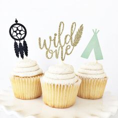 Wild One Cupcake Toppers / Wild One First Birthday / Tribal