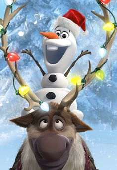 Olaf and Sven celebrate Christmas Phone Wallpaper Disney Pixar, Disney Olaf, Disney Animation, Disney Cartoons, Disney Magic, Disney Frozen, Disney Movies, Walt Disney, Sven Frozen