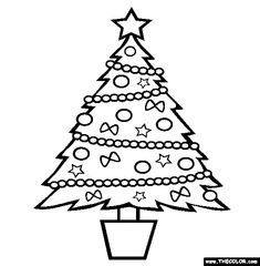 100% Free Christmas Coloring Pages. Color in this picture of a Christmas Tree and others with our library of online coloring pages. Save them, send them; they're great for all ages.