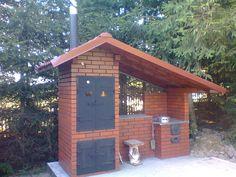 Outdoor Bbq Kitchen, Outdoor Cooking Area, Outdoor Oven, Backyard Kitchen, Outdoor Kitchen Design, Summer Kitchen, Backyard Patio, Backyard Smokers, Outdoor Smoker