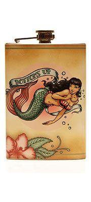 Bottoms Up Mermaid Flask