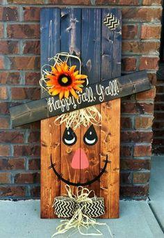 Snowman Decorations, Thanksgiving Decorations, Seasonal Decor, Fall Decor, Scarecrow Face, Halloween Signs, Halloween Crafts, Fall Scarecrows, Fall Crafts