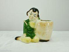 Vintage Royal Copley Pottery Planter Pot Asian Girl Marked Oriental Figurine