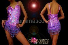 Showgirl Iridescent metallic light purple sequin dance leotard w/ beaded fringe #CHARISMATICO