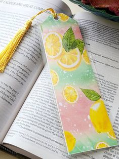 Lemon bookmarks Stripe bookmarks book accessories gifts for | Etsy