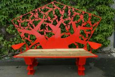 Outdoor Furniture, Outdoor Decor, Creations, Bench, Unique, Home Decor, Red Bench, Tree Carving, Decoration Home