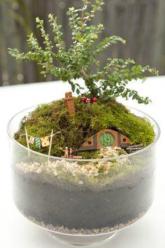 When R is old enough to read The Hobbit! Build Your Own Miniature Hobbit Hole terrarium. Geek Crafts, Diy Crafts, Make Your Own, Make It Yourself, How To Make, Deco Originale, Cactus Y Suculentas, Garden Crafts, Garden Art