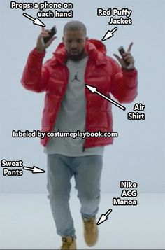 Guaranteed to make everyone laugh! Dress up as Drake in his latest MTV, Hotline Bling! Be sure to bring out those moves. Full guide: http://costumeplaybook.com/musicians-celebrities/3440-drake-hotline-bling-costume-mtv-meme/