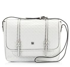 Coccinelle BETTY White logo embossed nappa leather crossbody large satchel bag