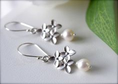 White Pearl Earrings for your White Summer Dress  by SarahOfSweden, $28.00