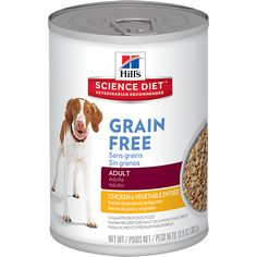 My gluten intolerant dog has done amazingly well on this grain free food from Science Diet and LOVES the taste too!.A delicious, grain-free chicken & vegetable entrée that provides precisely balanced nutrition for adult dogs.