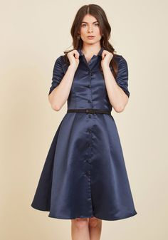 Respectfully Retro Midi Dress in Navy | Mod Retro Vintage Dresses | ModCloth.com  Boldly showcase your appreciation for past fashion with every wear of this navy shirt dress. A vintage-inspired look to captivate even the most modern-minded gal with its half sleeves, matte black buttons, and flattering belted waist, this satin midi is a testament to nostalgic sophistication!