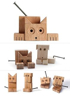 Cats Toys Ideas - Animaderos Wooden Animals, moddea - Ideal toys for small cats Scrap Wood Projects, Fun Projects, Scrap Wood Crafts, Ideal Toys, Wood Animal, Wood Scraps, Woodworking For Kids, Woodworking Gift Ideas, Woodworking Bench