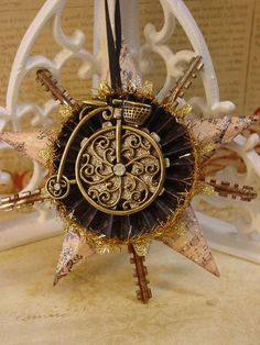 Altered Art, Assemblage, Steampunk Style Christmas Ornament.