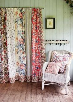 Patchwork curtains for shabby chic home made from odd lengths of vintage floral fabrics and repurposed nets from your fabric stash make a special and unique granny chic look for your cottage or heritage style home , make today pixels Painting Fabric Chairs, Chair Fabric, Paint Fabric, Shabby Chic Bedrooms, Shabby Chic Homes, Patchwork Curtains, Drapes Curtains, Curtain Fabric, Floral Curtains