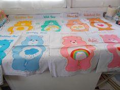 Vintage 25 Care Bear Material Plush Fabric Panels Stuff & Sew Pillows #CareBears