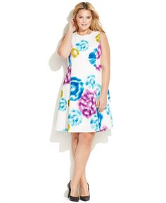 Calvin Klein Plus Size Printed A-Line Dress