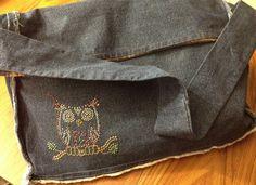 Distressed Denim Owl Embellished Messenger Bag Purse with by CYGI, SOLD