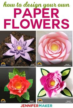 Paper Flower Designs That Will Blow You Away Learn how to design your own paper flowers in the CUT ABOVE SVG Design Course Paper Flower Backdrop, Paper Flowers Diy, Flower Crafts, Diy Paper, Fabric Flowers, Paper Crafts, Make Flowers, Flower Diy, Rustic Flowers