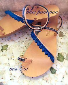 Blue pom pon!!!! Handmade leather sandals Pom Pon, Blue C, Greek Sandals, Handmade Leather, Leather Sandals, Flip Flops, Fashion Beauty, Jewelry Design, Shoes