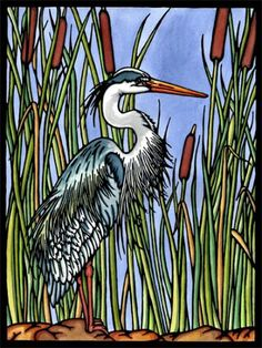 Blue Heron - original Sarah Angst Fine Artist & Printmaker image, new for 2016. Linocut block print, watercolor - 75 in series. Need a new addition to your lake home? www.sarahangst.com #sarahangst #art #interiordesign #blueheron #bird