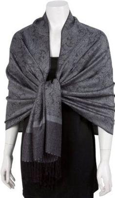 """Sakkas 70"""" X 28"""" Silk Paisley Self-design Pashmina Shawl / Wrap / Stole"""