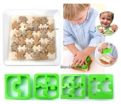 Food Sandwich Cheese Cutter set of 4 Puzzle Shapes - All Things For Sale Kids Lunch For School, Healthy Lunches For Kids, Kids Meals, School Lunches, Healthy Snacks, Healthy Recipes, Japanese Bento Lunch Box, Bento Box Lunch, Box Lunches