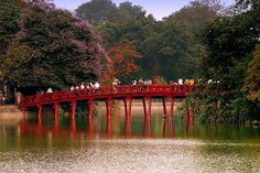 Red bridge at Hoan Kiem Lake in center #Hanoi #VietNam