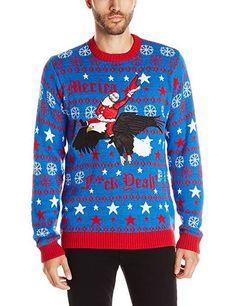 Men s Santa Bald Eagle Ride Ugly Christmas Sweater 1b6ba8088