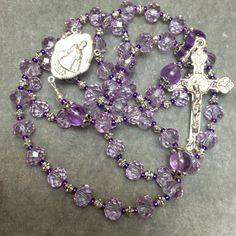 Purple Rosary Amethyst, Crystal,  Silver by HeartFeltRosaries.com HeartFelt Rosaries