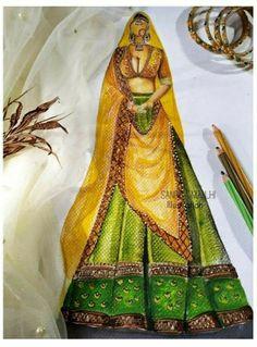 Fashion Design Sketchbook, Fashion Sketches, Art Sketches, Fashion Illustration Dresses, Fashion Illustrations, China Fashion, Fashion Art, Dress Design Drawing, Indian Wedding Wear