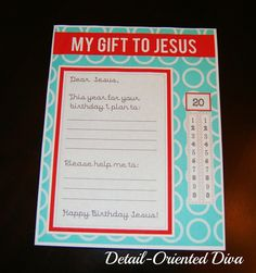 Detail-Oriented Diva!: A Birthday Party for Jesus! {Gift Printable}