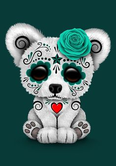 'Blue Day of the Dead Sugar Skull Polar Bear ' Art Print by jeff bartels - Tattoo ideas - Sugar Skull Tattoos, Sugar Skull Art, Sugar Skulls, Sugar Tattoo, Art D'ours, Baby Animals, Cute Animals, Tableau Pop Art, Day Of The Dead Skull