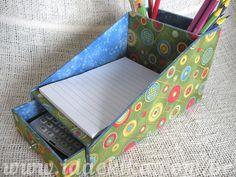 Kit Bloco com porta-lápis e gaveta by Ateliê Ida e Kika, via Flickr